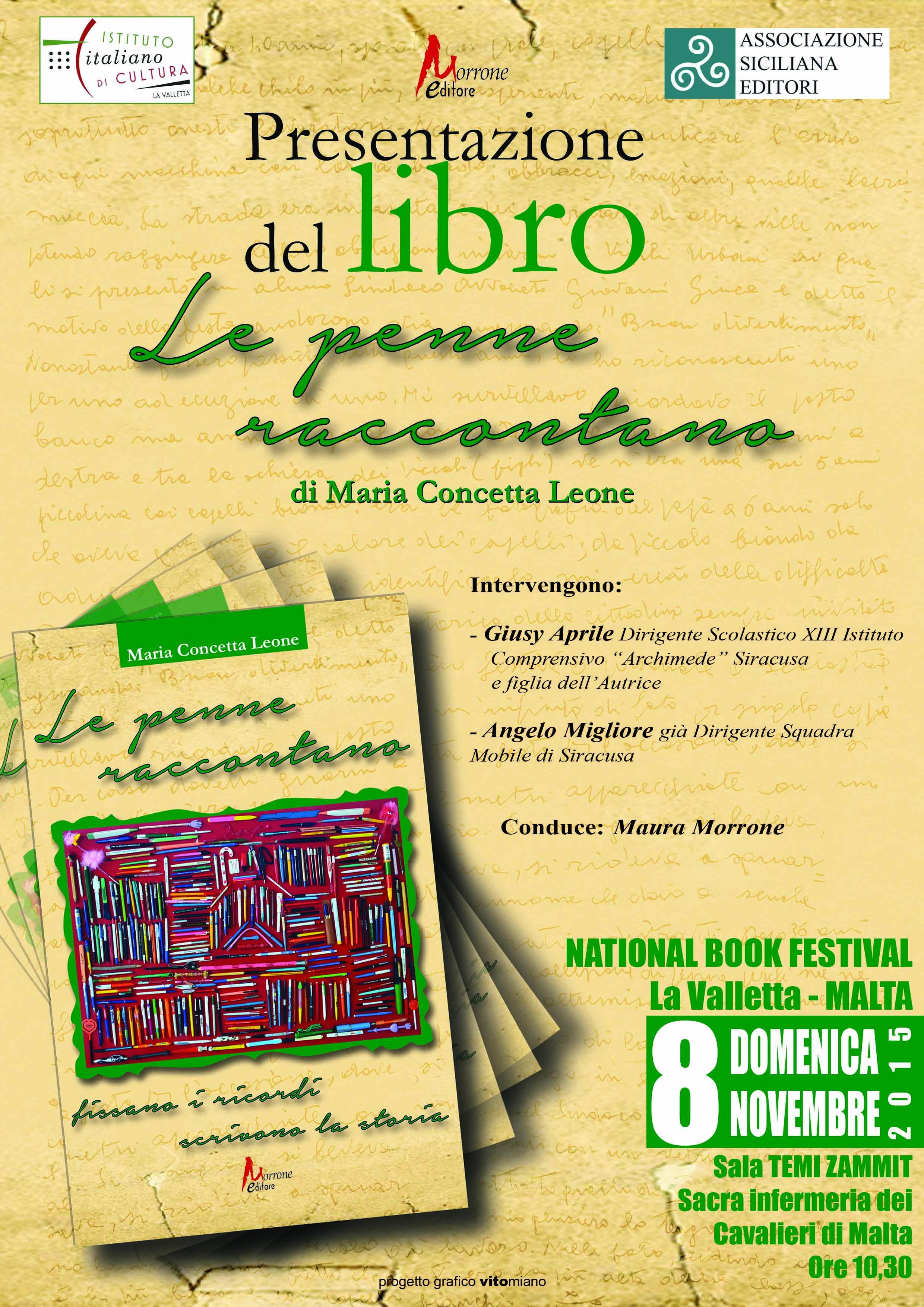 """Verrà presentato a Malta il libro di Concetta Aprile """"Le penne raccontano"""""""