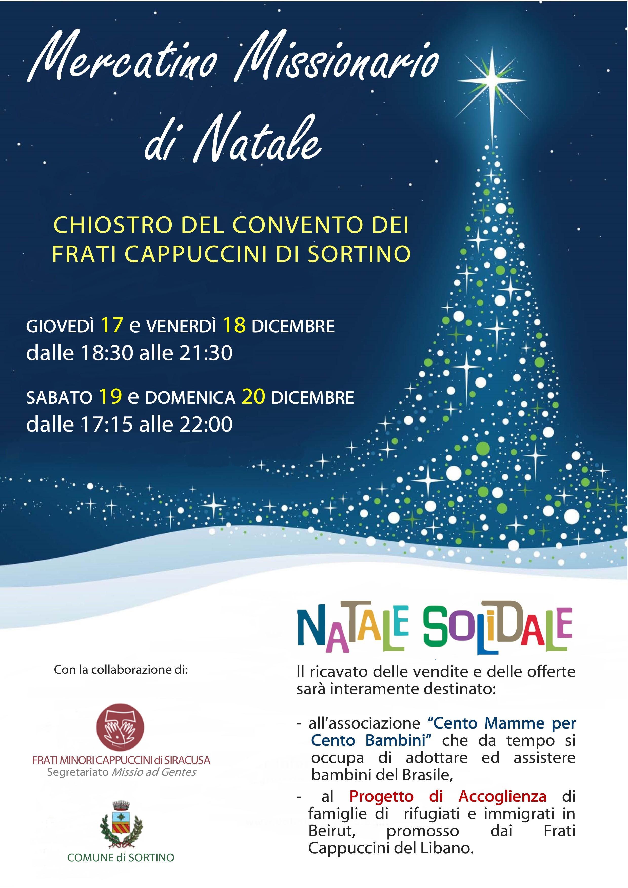 A Sortino i Frati Cappuccini organizzano i Mercatini di Natale Solidali