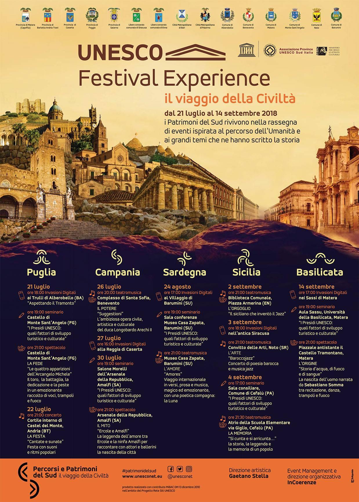 L'Unesco Festival Experience farà tappa anche a Noto   Spettacoli, seminari e invasioni digitali per rilanciare i territori. Coinvolti i 14 siti Patrimonio dell'Umanità del Meridione che fanno parte del Progetto Rete Siti Unesco