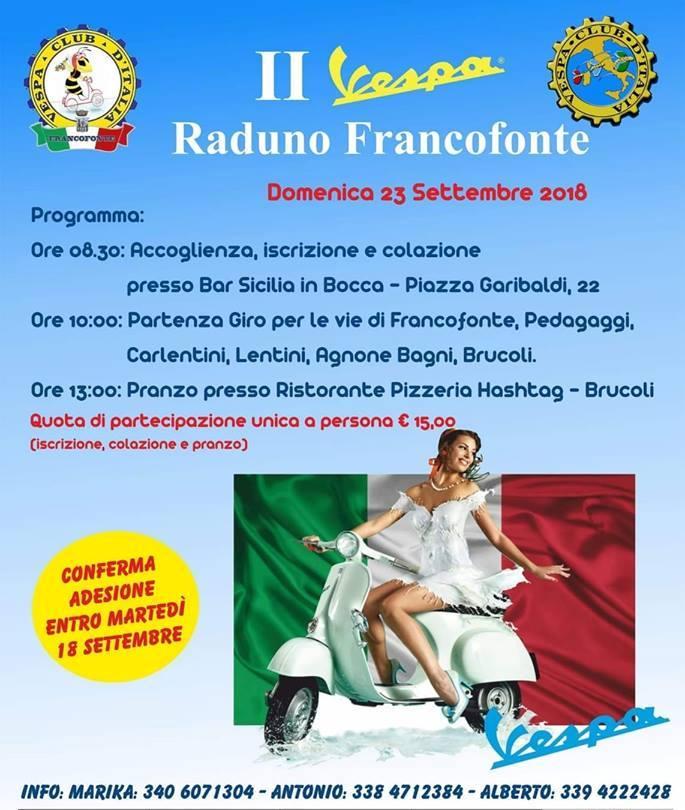 Francofonte: domenica appuntamento con il II Raduno in Vespa