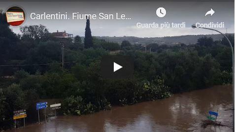 Carlentini. Fiume San Leonardo esondato 19 ottobre 2018
