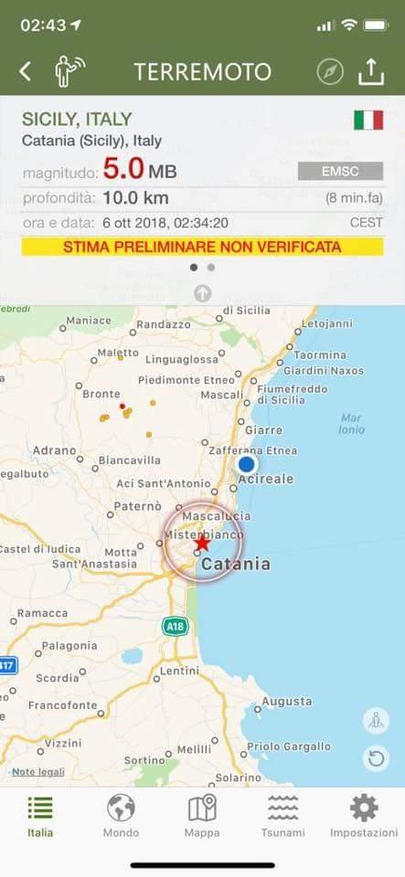 Terremoto. Paura  nel catanese. Danni a Santa Maria di Licodia, Bronte e Paternò