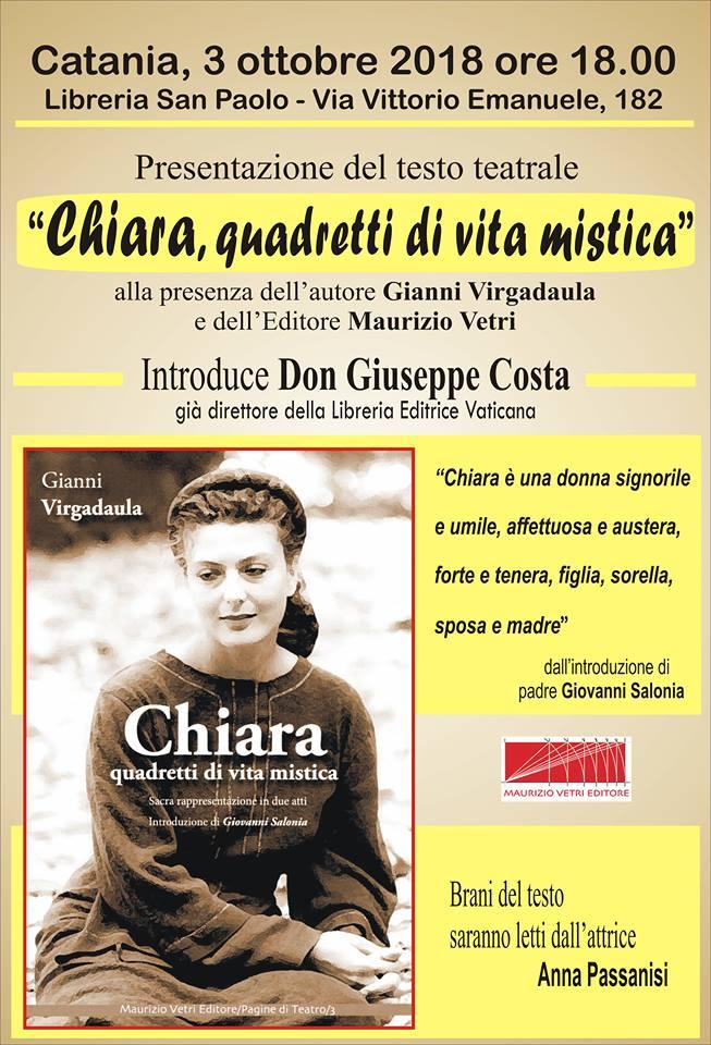 """Catania, """"Chiara quadretti di vita mistica"""". oggi alle 18 libreria San Paolo"""