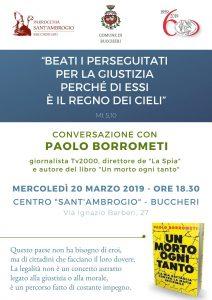 """Buccheri, mercoledì 20 Marzo 2019, ore 18,30 centro Sant'Ambrogio, conversazione con il giornalista di TV2000 Paolo Borrometi, autore del libro """"Un Morto ogni tanto"""""""
