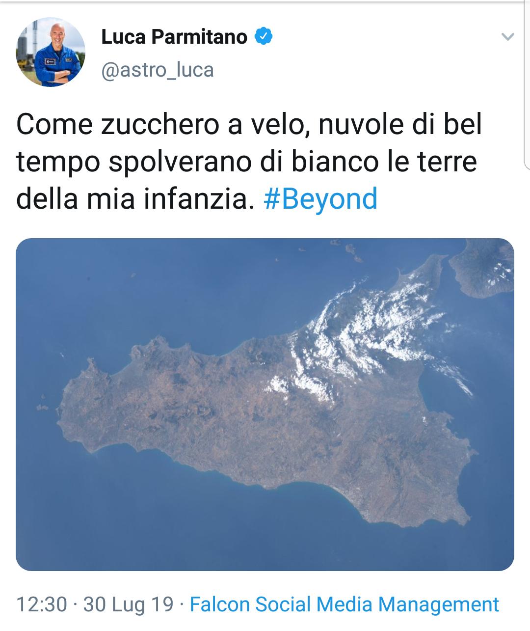 """AstroLuca Parmitano e la prima foto della Sicilia  dall'Iss: """"Nuvole come zucchero a velo"""""""