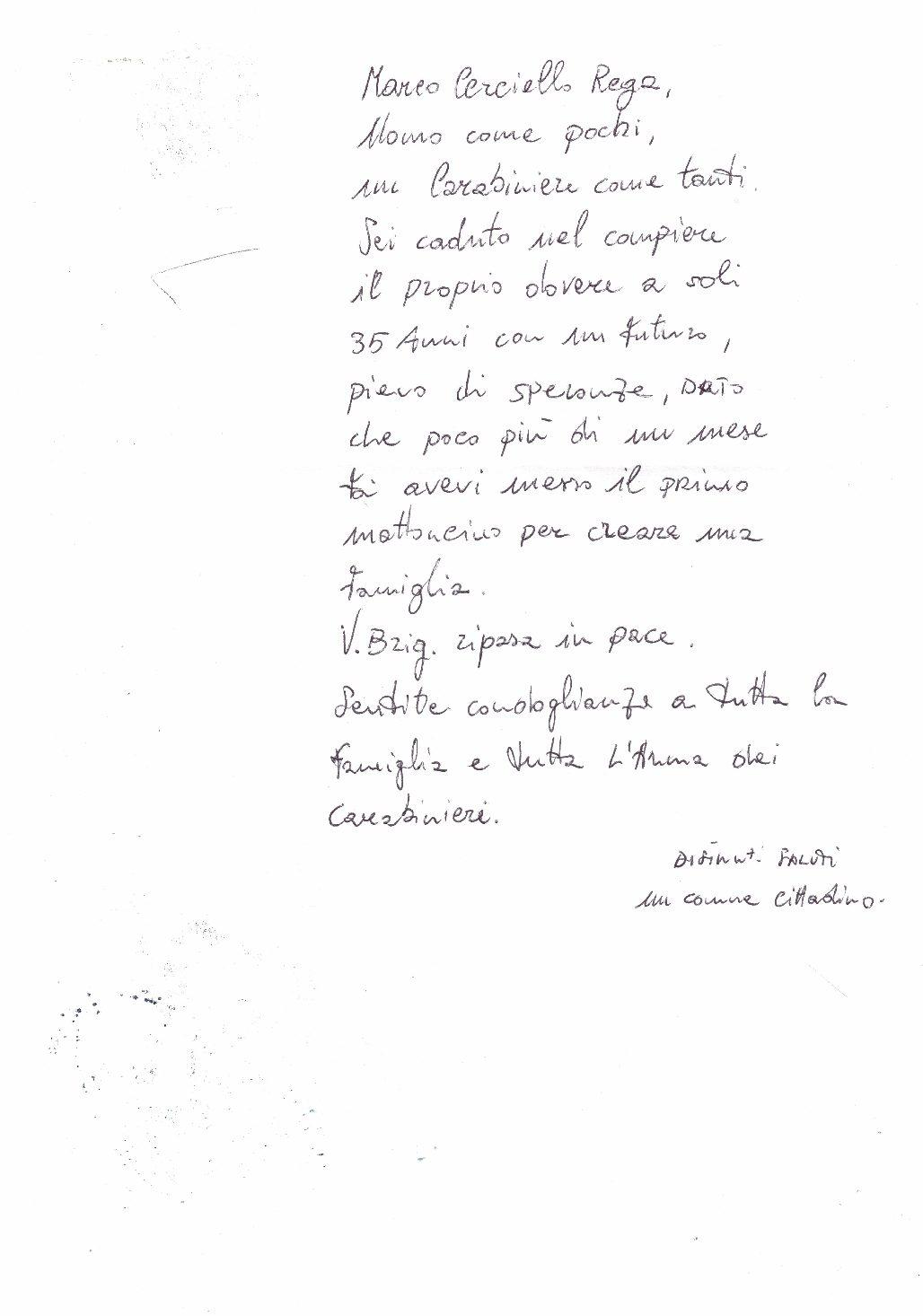 ROSOLINI, UN GESTO DI CORDOGLIO PER LA MORTE DEL GIOVANE V.BRIG. MARIO CERCIELLO REGA