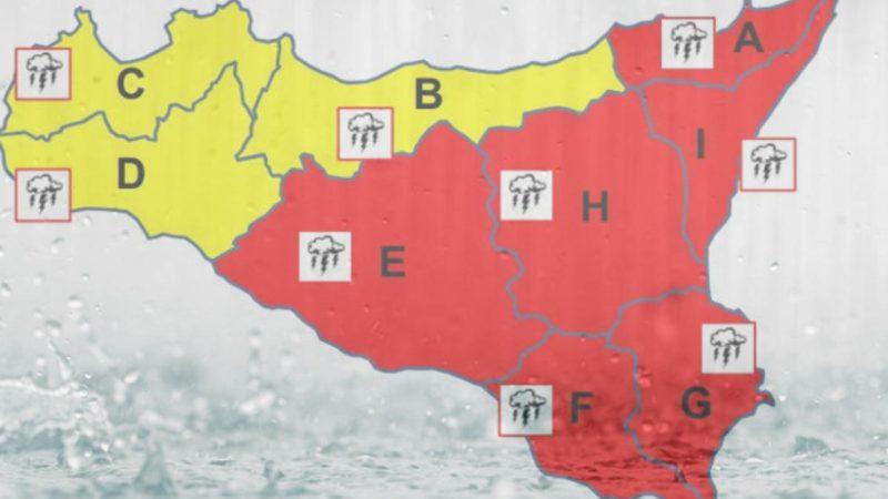 Maltempo, allerta rossa e scuole chiuse domani, martedì,  a Lentini, Carlentini e Francofonte