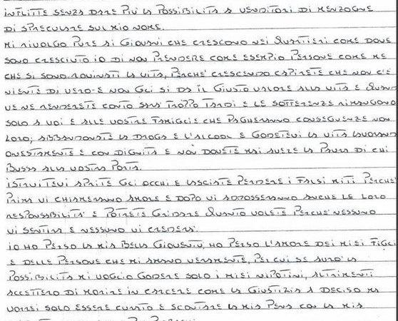 Mafia: lettera boss ai giovani,non seguite falsi miti come me. L'invito del boss ergastolano Iano Lo Giudice