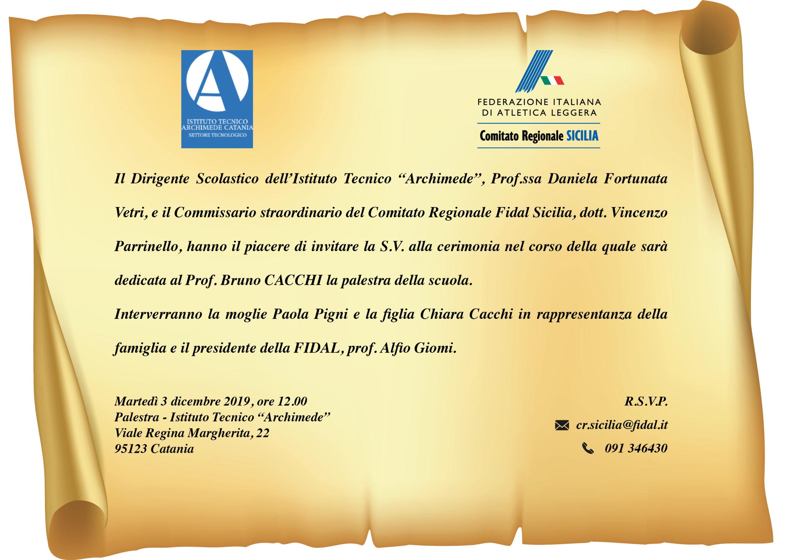 Catania, Dedicata al professor Cacchi la palestra dell'Istituto Archimede di Catania