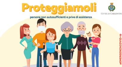 Carlentini, Protezione Civile comunale – assistenza domiciliare agli anziani, ai cittadini disabili o con malattie invalidanti. Misure di contrasto e di contenimento dell'emergenza epidemiologica da COVID-19