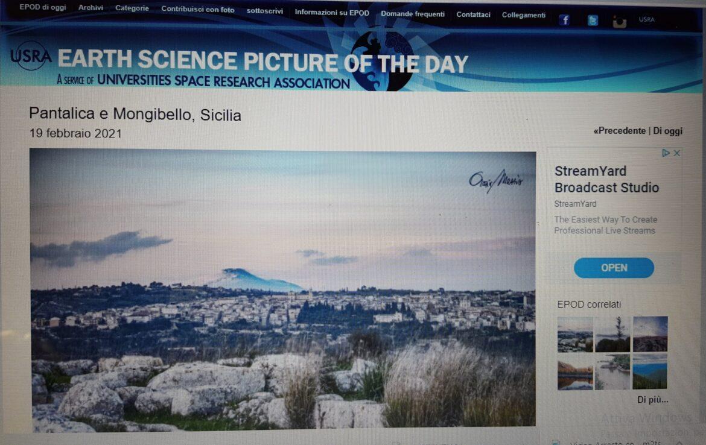 """Earth Science Picture of the Day pubblica foto di  Orazio Mezzio, giornalista, direttore del Settimanale """"Cammino"""" e socio Ucsi Siracusa"""