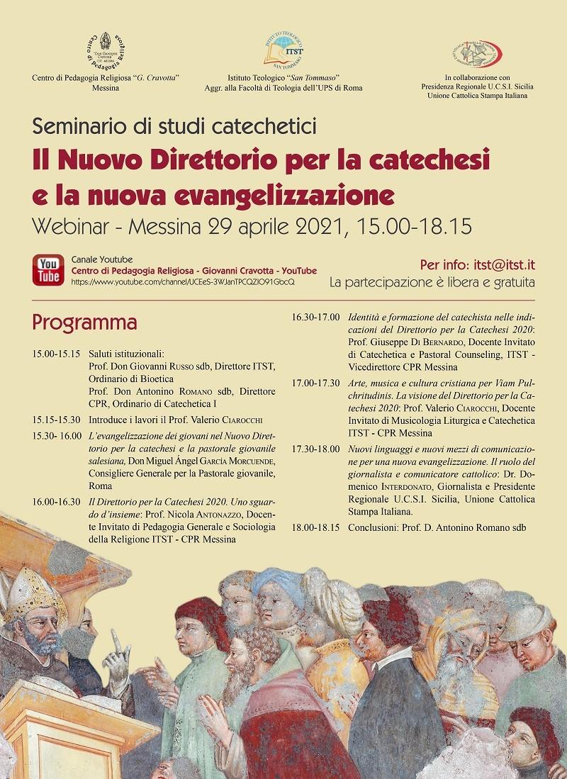 Messina, Il nuovo Direttorio per la catechesi e la nuova evangelizzazione, giovedi, in webnair