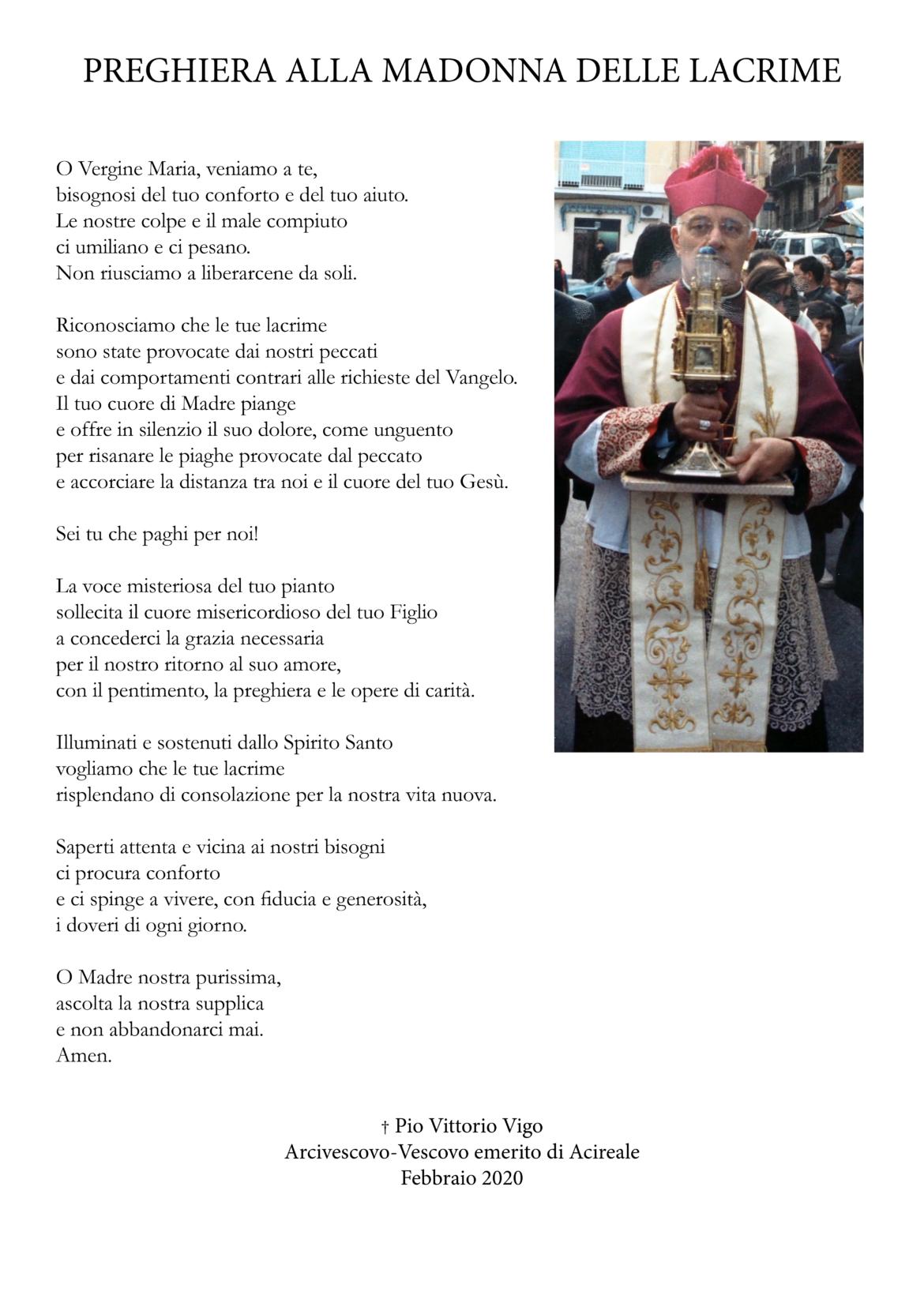 """Siracusa, Mons. Pio Vigo innamorato della Madonna delle Lacrime. Il Rettore don Aurelio Russo: """"Alla Vergine delle Lacrime ha dedicato le sue poesie"""""""