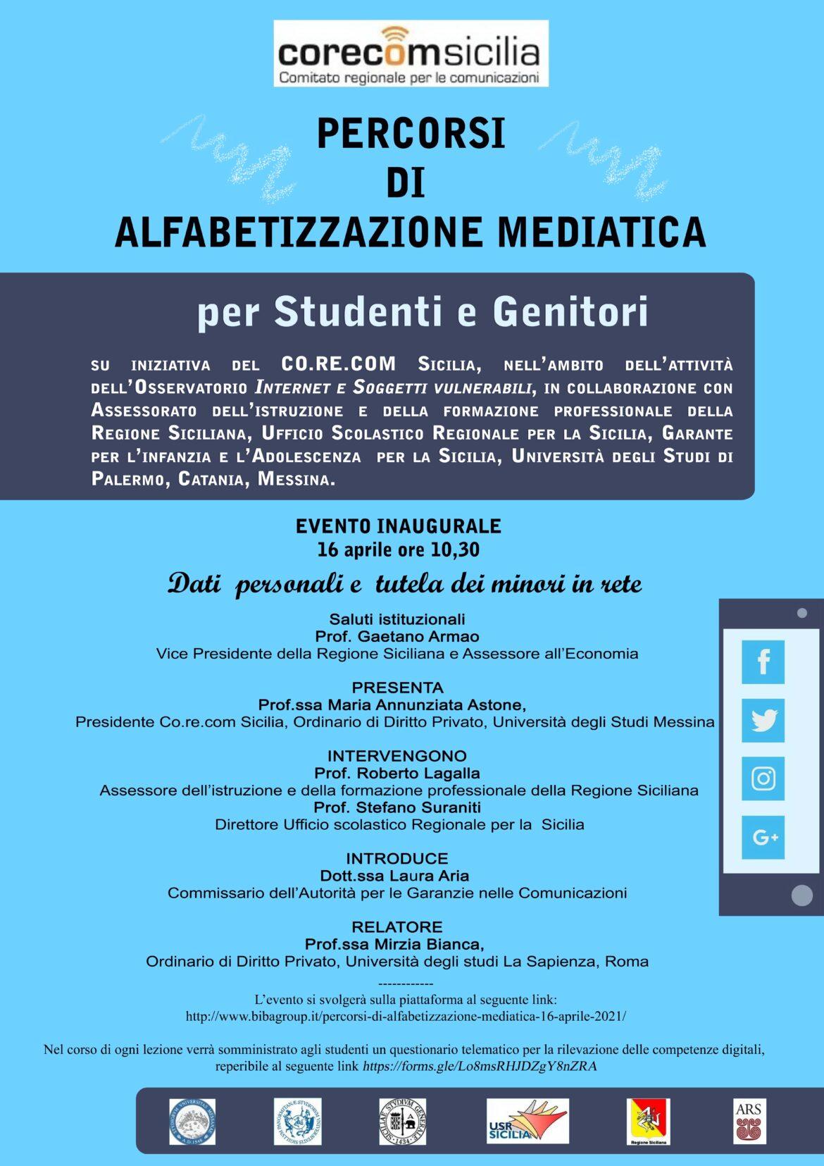 Palermo,  'Percorsi di alfabetizzazione mediatica', sette incontri on line rivolti agli studenti delle scuole superiori organizzati dal Corecom Sicilia dal 16 aprile 28 maggio.