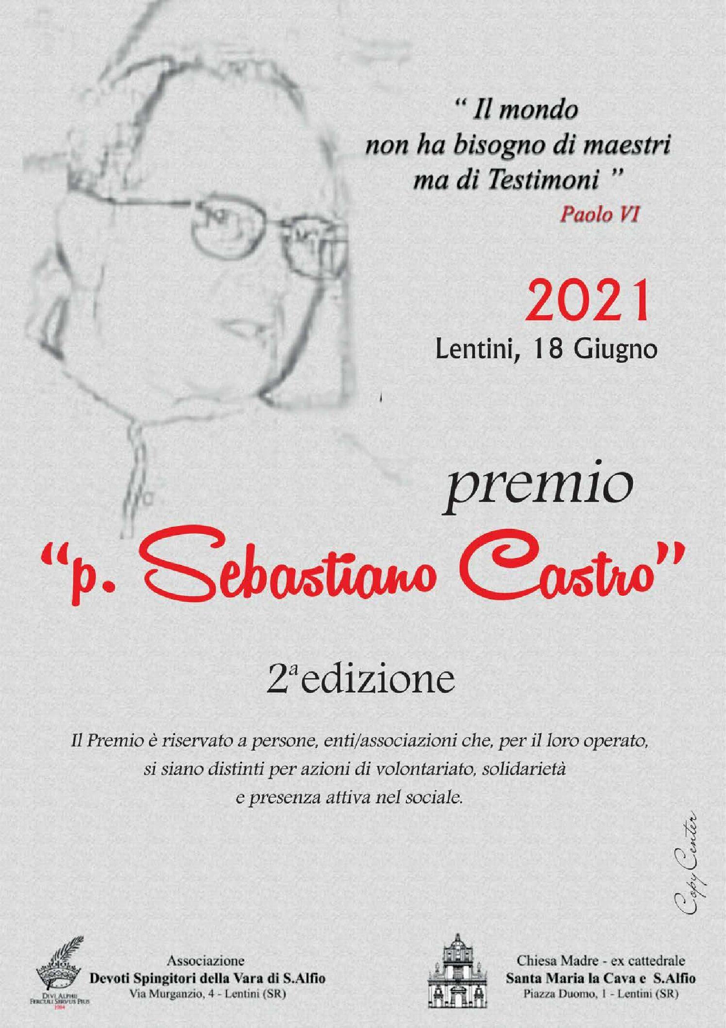 """Lentini, seconda edizionedel  Premio """"Padre Castro"""". Giovedi prossimo a Palazzo Beneventano"""